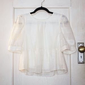Vintage Embroidered Cropped Blouse - Cottage Core